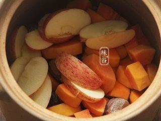 木瓜苹果瘦肉汤,将所有材料都放入汤煲内。