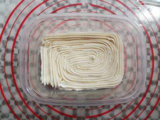 草莓蛋糕盒子,淡奶油铺满蛋糕胚,淡奶油觉得厚了可以用叶子花嘴挤出来比较薄
