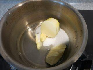 好吃的根本刹不住啊--焦糖杏仁酥饼,将除杏仁片外的所有材料倒入锅中