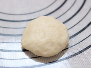 蔓越莓椰蓉花朵面包,12.取一块面团按压