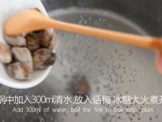 99%女生都会爱上的一道夏日小食——话梅,锅中加入300ml清水,放入10粒话梅,30g冰糖大火煮开