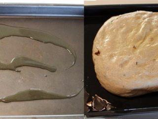 迷迭香佛卡夏,烤盘上倒入稍多的橄榄油,抹匀,将发酵好的面团放入烤盘。