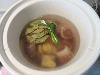 大补气血牛尾汤,将牛尾和牛骨髓捞起,放入煲锅中加入葱节生姜片加入清水,水量没过食材