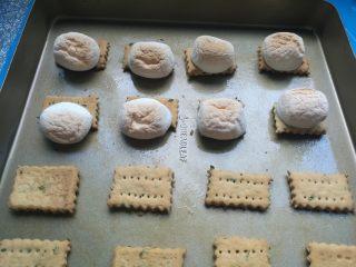 棉花糖加薪苏打饼干,烤至棉花糖膨胀,金黄色就好了。
