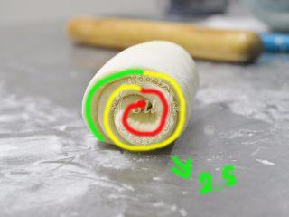 附手揉示范图-材料简单味道脱俗的白吐司,轻轻卷起,卷2.5圈—3圈适宜。不要卷太紧,否则会影响后期发酵和长高。怎么数圈可以看图片哦。