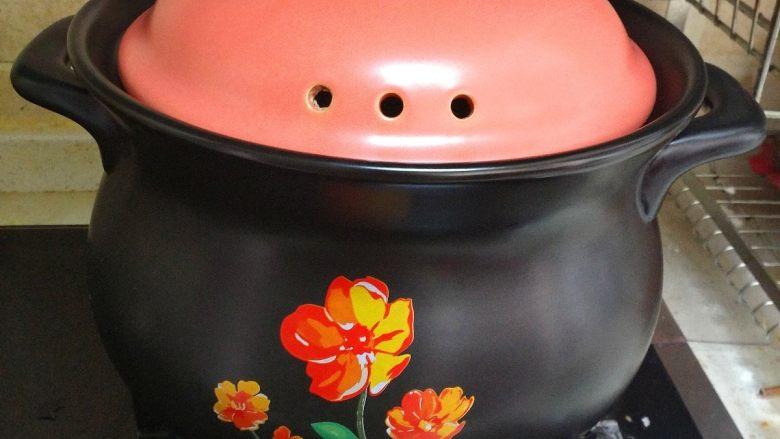 酸萝卜老鸭汤煲,老鸭汤烧开后,可以盖上盖子,转小火慢煲,一直保持小滚开的样子。