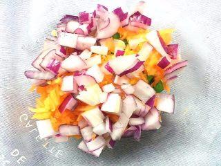 洋葱圈蔬菜蛋饼,洋葱中间的芯切碎,和胡萝卜碎一起加入玉米豌豆粒里。