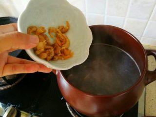 冬瓜海鲜排骨汤,11、倒入瑶柱和虾仁干。
