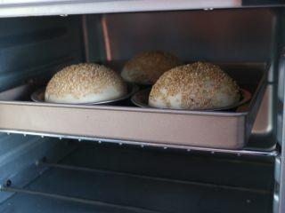 汉堡,烤箱提前预热,上下火180度,16分钟左右,上色满意即可。
