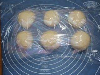 奶香大辫子面包,取出面团用擀面杖排气后分成六份,整圆,盖上保鲜膜松驰10分钟
