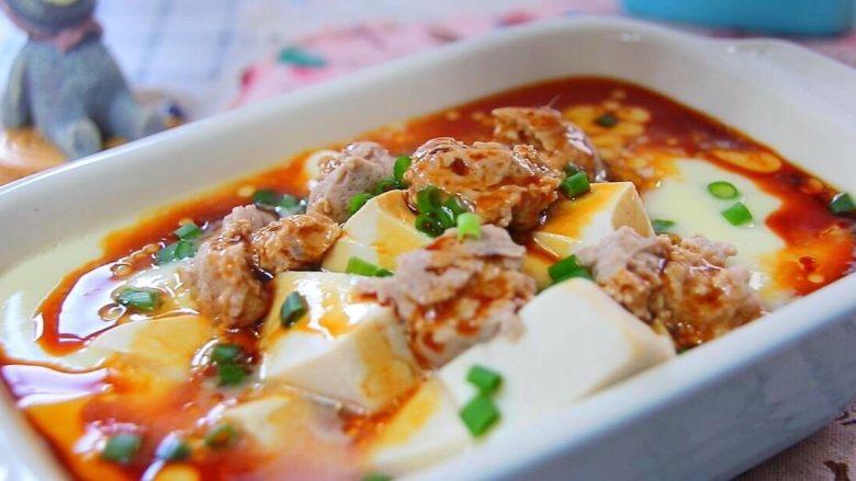 猪肉豆腐蒸水蛋,完成。
