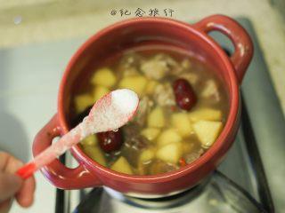 超好吃的苹果炖牛腩,8、最后放入盐调味 放上香菜 我忘记买了所以放了葱段