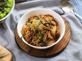 五花肉虾米萝卜焖饭,成品图