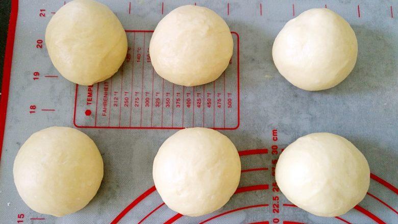 中种北海道吐司,将面团排气,平均分成6份