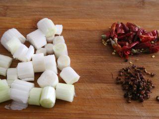 宫保鸡丁,大葱切段、辣椒切段,准备好花椒。