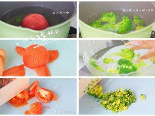 胡萝卜莲藕排骨面线 宝宝辅食西兰花+番茄,西兰花入沸水焯1分钟,捞出来入冷水中降温使其保持翠绿色,将西兰花穗切碎。番茄开十字放入热水中,2分钟后将皮撕掉,切小丁。