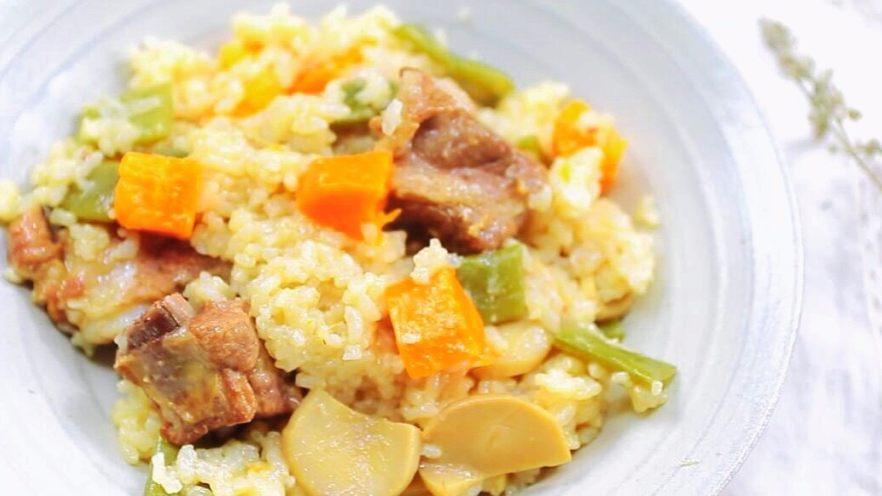 时蔬排骨饭 宝宝辅食 大米+糯米+杏鲍菇