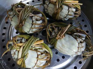 清蒸大闸蟹,5.全部的螃蟹洗干净后,放在蒸锅上,八脚朝天,开大火蒸之。