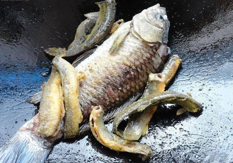 烧鱼汤注意这2点,鱼不破皮、汤汁奶白浓郁,接着将煎好的鲫鱼也下锅一同煎。
