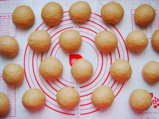 葡萄干红糖欧包,把面团放在垫子上平均分成100克一个的小剂子,排气揉圆。