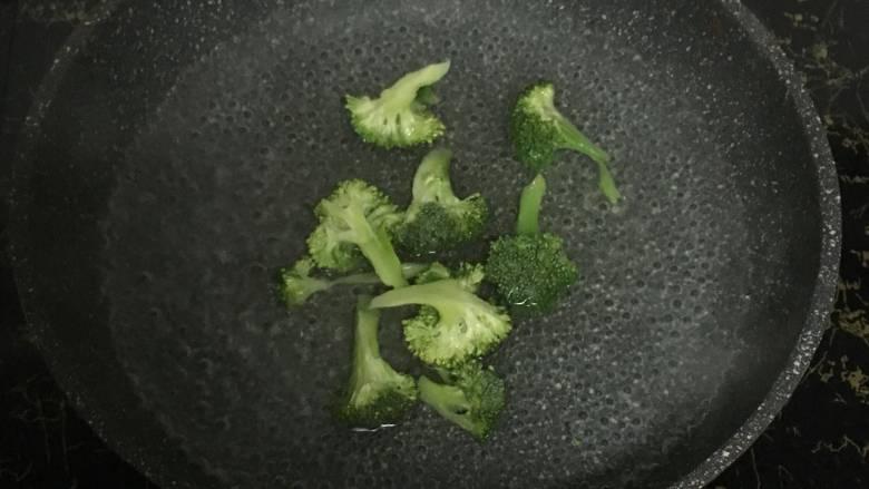 宝宝午餐肉,. 将西兰花块放入烧开的沸水中,焯30秒左右,不要超过一分钟