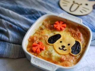 小狗烤鲜蔬焗土豆泥 宝宝辅食,牛奶+玉米+毛豆+番茄+马苏里拉奶酪
