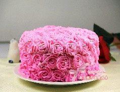 玫瑰奶油蛋糕,从蛋糕底部均匀的挤上小花