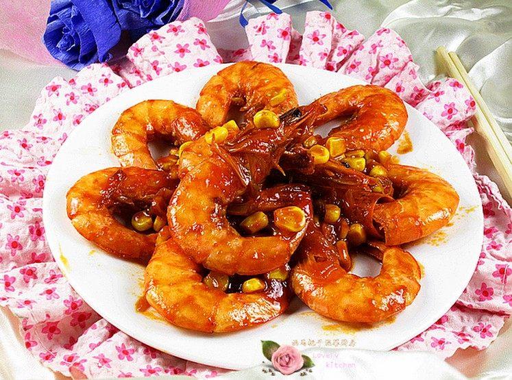 甜玉米烧大虾