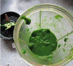 艾草青团,将烫好的艾叶和薄荷叶放料理机理加入适量的水打成泥