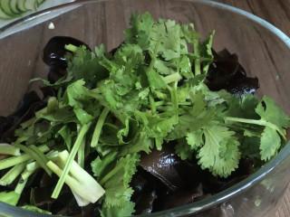 黄瓜拌木耳,加入花生碎和香菜碎