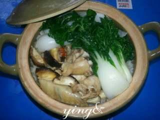 香菇滑鸡煲仔饭,将焯过水的白菜放在砂锅面上即可食用。