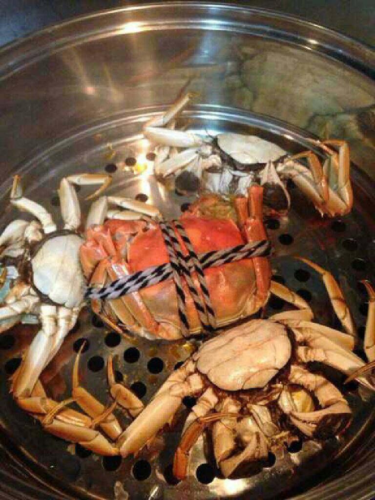 清蒸大闸蟹,时间到,螃蟹红了就熟了