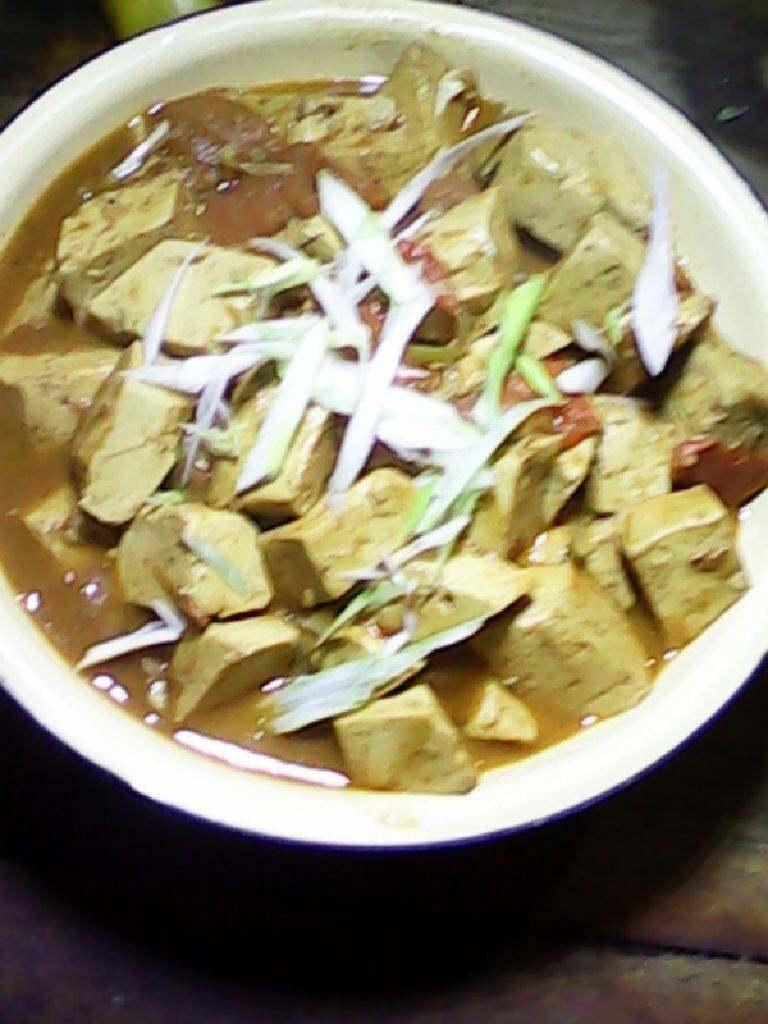 西红柿炒豆腐,最后放点芡就可以出锅了