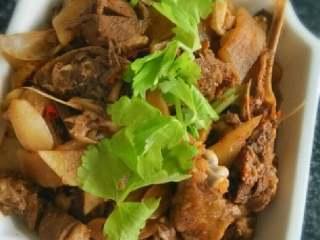 鸭子烧萝卜,起锅时尝试咸淡调好味放入喜欢的香菜即可