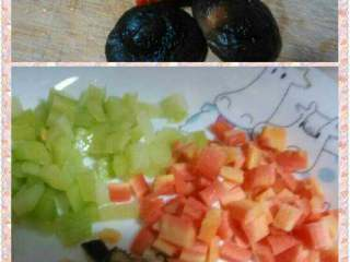 什锦肉粥,蘑菇,莴笋,胡萝卜切丁