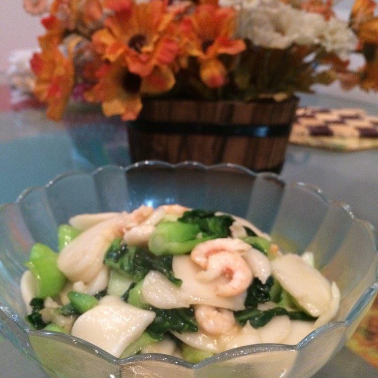 虾仁青菜炒年糕
