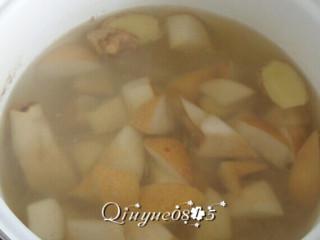 冰糖雪梨,把生姜和梨块下水锅慢炖半小时左右,炖至梨发软。