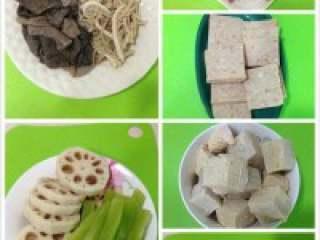 自制贵州【麻辣火锅】,把材料都洗干净切好。