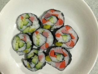 寿司,切好,入盘,如图