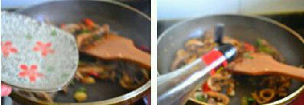 香辣猪肚条,加入适量的温水和一小勺的<a style='color:red;display:inline-block;' href='/shicai/ 718'>料酒</a>。