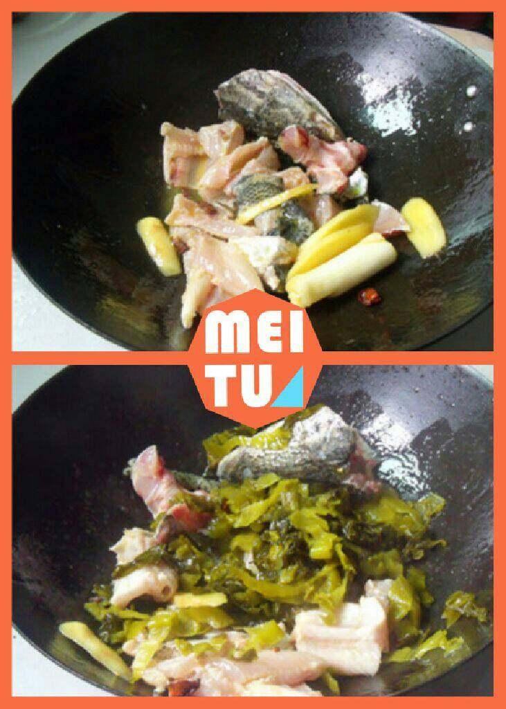 酸菜鱼,锅里放油炒香葱姜蒜,下入鱼头鱼尾鱼骨头鱼皮等炒一分钟。放入酸菜继续炒一分钟。兑足量开水。