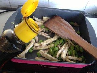 豆干榨菜炒毛豆,放生抽