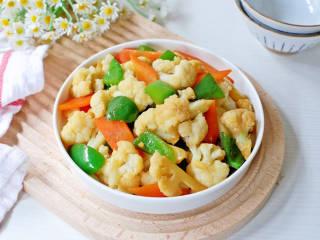 青椒炒花菜,成品图