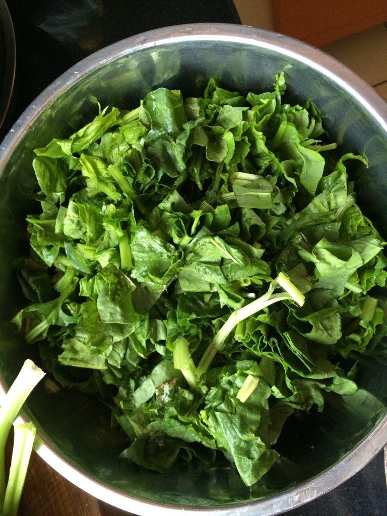 菠菜团子,如图切成小段拌入少许食盐,搅拌均匀