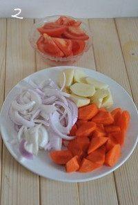 红咖喱鸡肉炖杂蔬,番茄切大块、土豆胡萝卜去皮切滚刀块、洋葱去皮切成粗丝