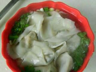 鸡汤菜肉馄钝,调料碗中加入鸡汤,再把煮熟的馄钝盛入碗中即可!