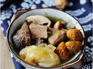菌菇花胶牛肉汤
