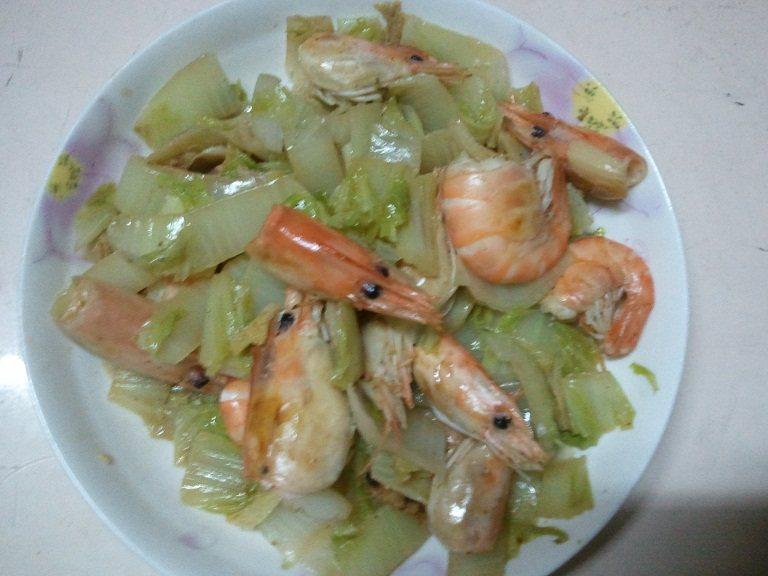 沼虾炒白菜