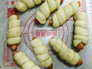 卷卷火腿肠,全部做好后放入蒸锅里发至两倍大.