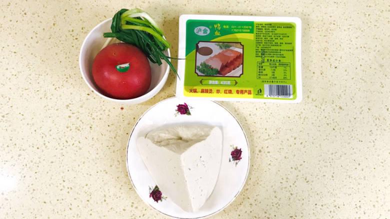 酸辣豆腐,准备好食材